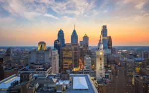 The Perzel Group Homepage - Philadelphia Skyline at Sunset